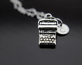 Author Gift Typewriter Necklace Silver Typewriter Charm Necklace Writer Gift Teacher Gift Personalized Necklace Initial Charm