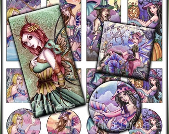 Fantasy Digital Collage Sheet No. 3-Printable Fairy, Mermaid, and Witch Images-1x2 Rectangles-1x1 Squares-1x1 Circles-COMMERCIAL USE