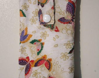 Case anti-ondes fabric Japanese white and multicolored butterflies