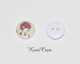 5 x white Ladybug 15mm wooden buttons