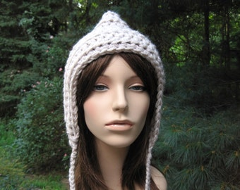 Womens Crochet Hat, Womens Hat, Womens Accessories, Chunky Ear Flap Hat, Fall Fashion, Adult Winter Hat, Teen Hat, Adult Pixie Hat, Linen