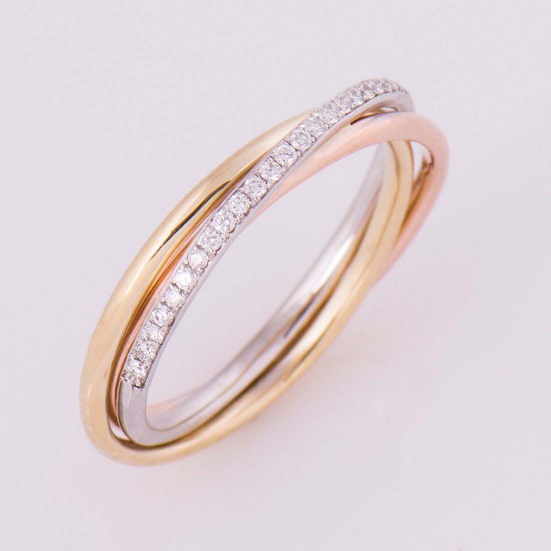 Three Tone Ring 14K 18K Gold Diamonds Band Anniversary