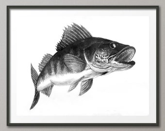 Fish wall art print / Pencil / digital / Graphic Art Printable / Art / Print / INSTANT DOWNLOAD