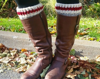 Work Sock Boot Cuffs // Work Sock Boot Topper // Red Stripe Boot Socks // Crochet Boot Cuffs // Fall Fashion // Gifts for Her