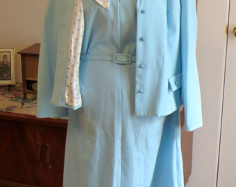 Sale Vintage 1970s/1980s Dress and Jacket | Powder Blue Shift Dress with Matching Jacket and Scarf | By  Carillon | Vintage Size 18 Size XL
