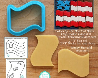 Flag, Beach Towel  and Wave Shaped Cookie Cutter and Fondant Cutter - **Guideline Sketches to Print Below**
