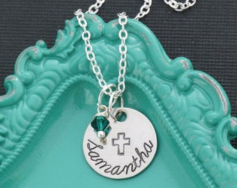 Cross Necklace •Personalized Cross Charm Christian Gift•Girls Baptism Gift Confirmation Necklace Baptism Church Retreat Gift Communion First