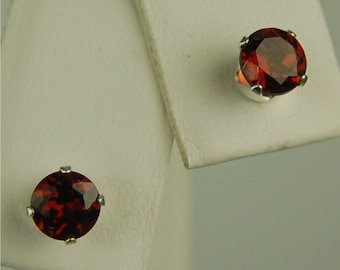 Garnet Stud Earrings Sterling Silver 5mm Round 1.20ctw Natural Untreated