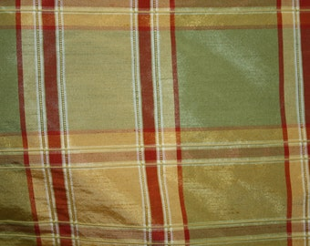"""Silk Fabric, 100 % silk, 54"""" wide, Checkered Print , sold by the yard. Free Shipping in USA"""
