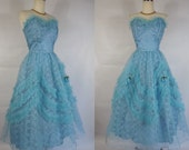 1950's Vintage Blue Lace and Tulle Prom Dress with Rosettes