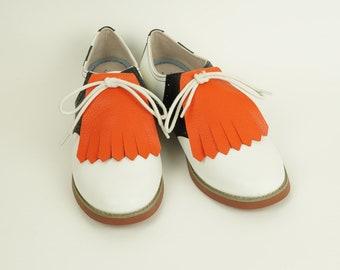 Orange Kilties for Womens Golf Shoes, Saddle Shoes Lindy Hop Shoes Ladies Golf Shoes Golf Gifts for Wome, Shoes Accessories Golf Accessories