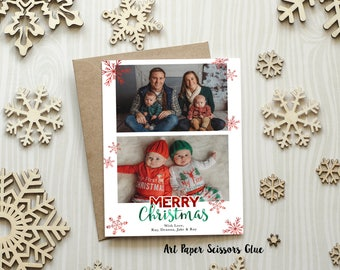 5 x 7 Custom Digital or Print Merry Christmas Card/ Photo Christmas Greeting Card/ Snowflakes/ Red & Green/ FREE SHIPPING
