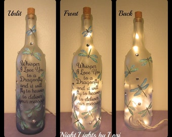 """Dragonfly """"Whisper I Love you to a Dragonfly"""" Wine Bottle Night Light"""