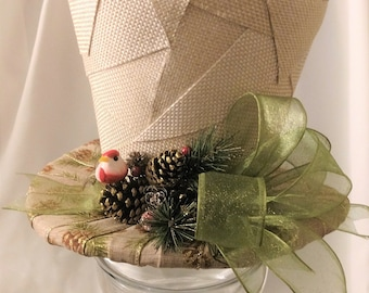 Burlap Patches Top Hat - Christmas Tree Topper Bow - Top Hat Centerpiece - Rustic Tree Topper Bow - Tree Topper Top Hat - Country Top Hat