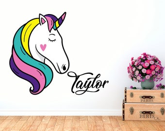 Unicorn Decal for Baby Girl - Personalized name - Wall Sticker Rainbow Unicorn- Wall Decal Nursery For Children Bedroom