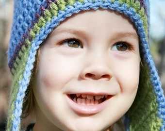 Blue and Green Crochet Earflap Hat, Newborn Hat, Baby Hat, Little Boy Hat, Child Hat, Photo Prop, Winter Hat