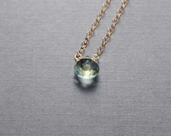 Light Green Quartz Gold Filled Necklace or choose your semi precious stone