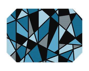 Blue placemat, geometric placemat, printed cloth placemat, black, gray, fabric placemat, table linens, table setting, modern decor
