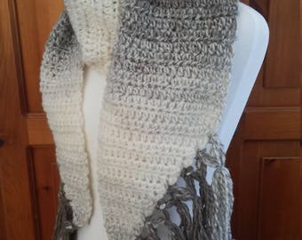 Handmade Angled Crochet Taupe and Cream Beige  Fringe Scarf  Ready to Ship by CraftyRaven
