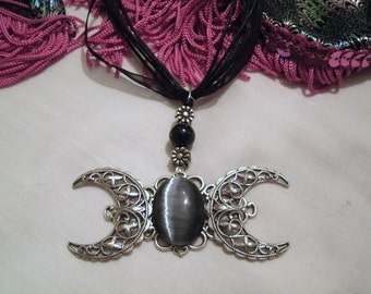 Gothic Crescent Moon Necklace, gothic necklace victorian necklace goth necklace art nouveau art deco renaissance gothic victorian jewelry