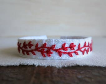 Red Vine Cuff Bracelet - Red and White Embroidered Linen Cuff Bracelet