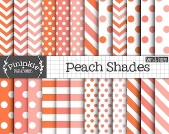 Peach Digital Paper Pack, Peach Polka Dot Digital Paper, Peach Chevron Digital Paper, Peach Striped Digital Paper, Orange Digital Paper Pack