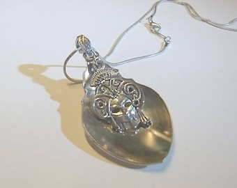 Pendant, cutlery, spoon handle, venitian mask necklace