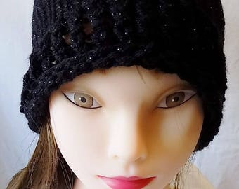 lovely black sparkle ladies winter hat with bow