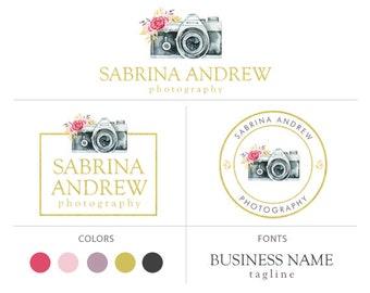 camera logo premade logo package elegant logo floral logo custom logo design watermark photography logo gold foil logo branding package