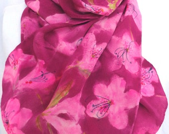 silk scarf Pink Maroon Azalea long crepe unique hand painted unique wearable art women fashion