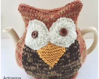 Hand-knitted Owl Tea Cosy - in Pure Merino Wool and Mohair mix -  fits medium 6-cup teapots - Adrianna