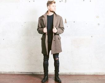 Vintage TWEED Coat . Retro Men's Brown Overcoat Winter Clothing Men's 1970s Jacket Chesterfield Coat Longcoat Outerwear . Large