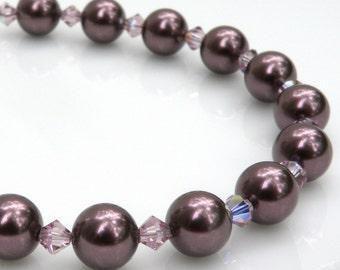 Wine Swarovski Pearl Bracelet, Plum Burgundy Bridesmaid Bracelet, Sterling Silver Clasp, Bridal Party Gift, Handmade Fall Wedding Jewelry