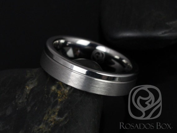 Rosados Box Nick 6mm Tungsten Straight Pipe Asymmetrical Grooved Duo Finish Band