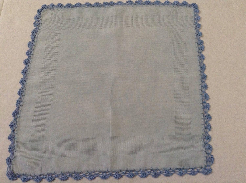 Vintage Stofftaschentuch / blau häkeln