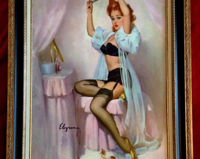 Featured listing image: Estate Sale! ELVGREN - A HAIRLINE DECISIONS Original Painting 24x20- Rare famous Pinup Vancas, in Lingerie, Negligee,  Nylons Stockings