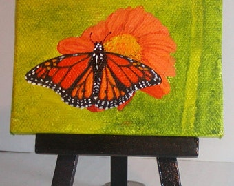 Miniature Orange Monarch Butterfly Painting with Mini Wooden Easel