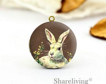1pcs Vintage Bunny Locket Necklace , Antique Bronze Brass Rabbit Locket Charm Pendant 32mm 25mm 20mm Locket - HLK162N