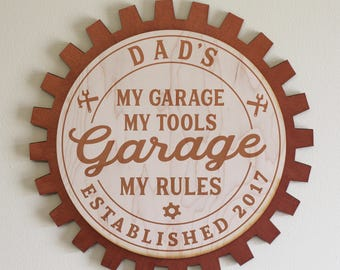 Dad's-Grandpa's-Personalized-GARAGE Sign-My Garage My Tools My Rules-Engraved Wood Sign-Copper Gear