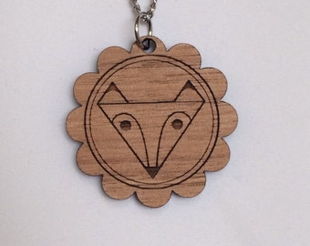 Laser cut wood Geometric Fox cameo necklace