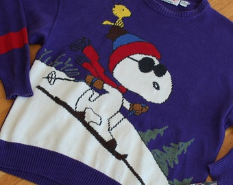 Vintage 80s Snoopy and Friends Bill Ditfort Schulz Ski Knit Sweater Peanuts Joe Cool
