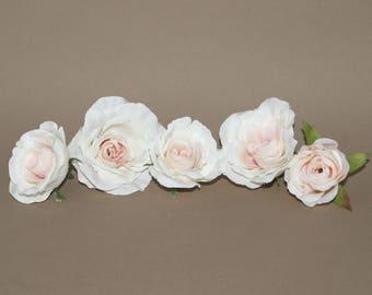 5 Cream Blush Pink Garden Roses - Artificial Flowers, Silk Flower Heads