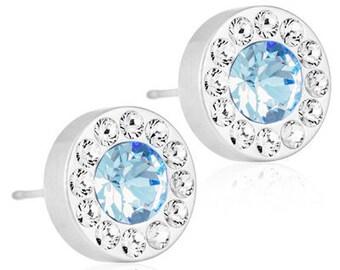 Halo Earrings, Alexandrite, Blomdahl Earrings, Swarovski Crystal,  Earrings for sensitive Ears, Medical Grade Titanium Earrings