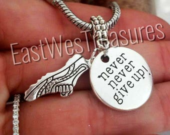 Running girl charm/ Running shoes charm/ Marathon runner charm/ never give up charm - pendant for Charm Bracelets & any chain necklace