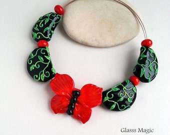 Red Butterfly set of lampwork beads, glass beads, murano glass, flamework, jewelry making, handmade beads, glass butterfly, black and red