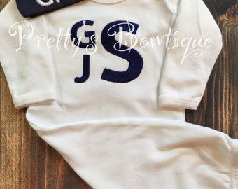 Boys Coming home outfit  Monogram gown and hat - Monogramed newborn gown and gown