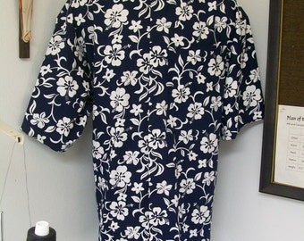 CAMP Clerical tab shirt, white hibiscus on Navy blue All Cotton, select your size made to order. Select TAB or Fullband ready Untucked style