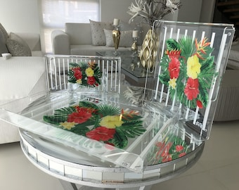 Red Flower Acrylic Tray