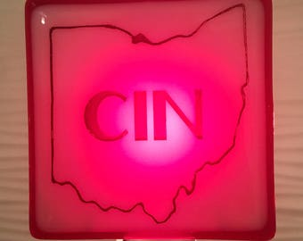 Cincinnati Ohio CIN Fused Glass Night Light Red