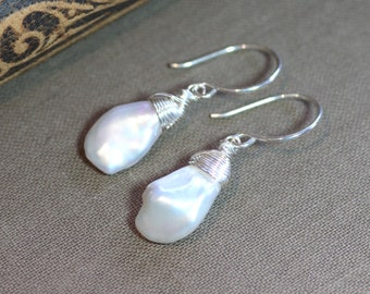 Keshi Pearl Earrings Real Baroque Pearl Jewelry Sterling Silver or Gold Rustic Jewelry